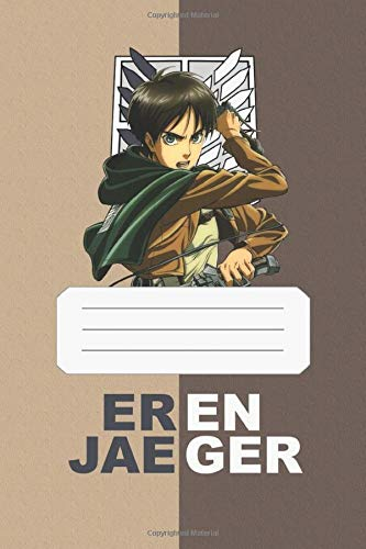 Eren Jaeger: Attack On Titan, Eren, 112 Lined Pages, 6 x 9 in, Anime Notebook Diamond