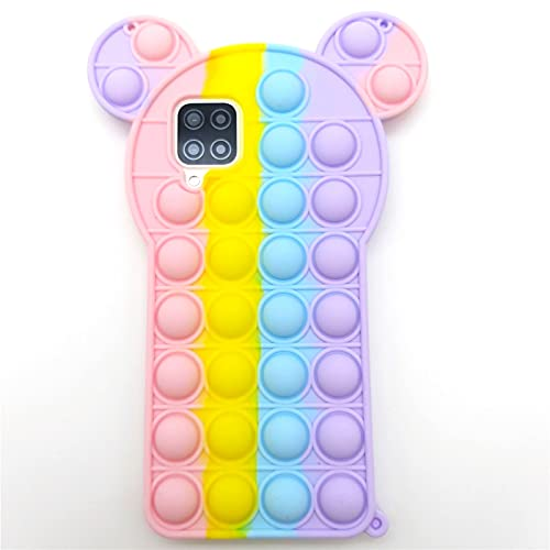 for Samsung A12 Case Galaxy A12 Case Fidget Toys 3D Rainbow Minnie Design Sensory Push Pop Bubble Soft Silicone Rubber Cover Teen Girls Women Boys Protecive Phone Case for Samsung Galaxy A12 (A12)