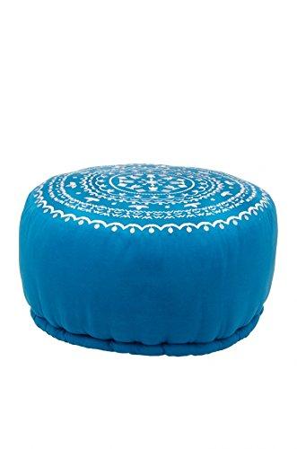 Orientalischer runder Pouf aus Baumwolle inklusive Füllung | Marokkanisches Sitzkissen Sitzpouf Kissen Jabran Blau ø 52cm Rund | Marokkanischer Hocker Sitzhocker Fusshocker Weiß Bestickt