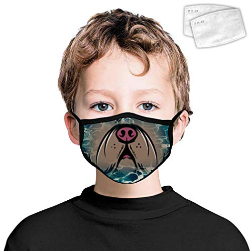 Pimalico French bulldog Kids Face,Shields Ear Straps Fabric Mouth Cover with Filter,Safety Neck Gaiter