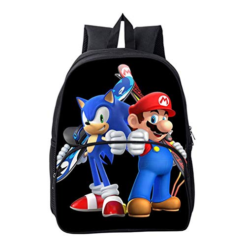 HGYYIO Ligero Mochila para niños 3D Anime Sonic Impreso Mochilas Escolares para niños Impermeable Nylon Kindergarten Primaria Bolsa de Libros de la Escuela,F