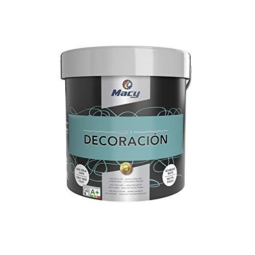 Macy Kunststofffarbe, matt, Dekoration für den Innenbereich, hervorragende Deckkraft, perfektes Finish, Farbe Aquamarin, 15 Liter