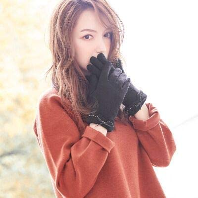 Fall Winter Ladies Cashmere Gloves Female Wool Mitten Gloves Elegant All Match Women Khaki Gloves - (Color: Black, Gloves Size: All Code is Flexible)