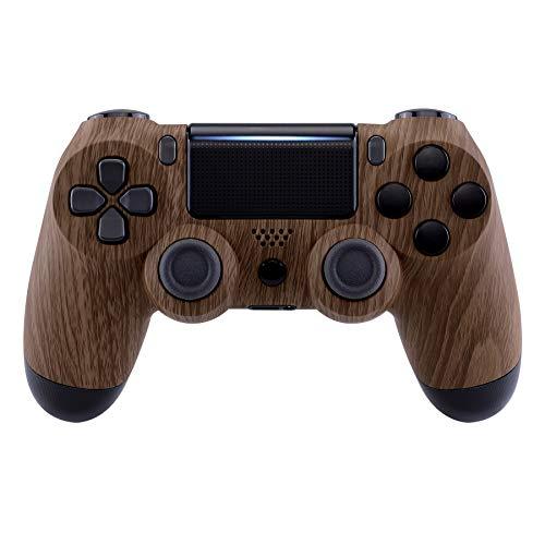 eXtremeRate PS4 Controller Hülle Case Gehäuse Schutzhülle Cover Oberschale Skin Schale Zubehör für Playstation 4 PS4 Slim Pro Controller JDM-040,JDM-050,JDM-055(Holzmaserung)