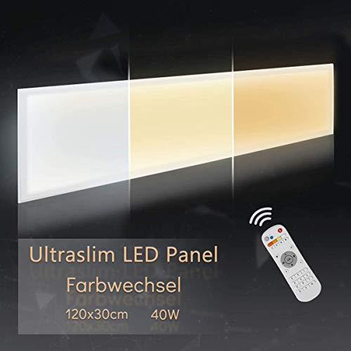 LED Panel Deckenleuchte Wandleuchte Dimmbar 120x30CM 40W Warmweiss-Kaltweiss 3000-6000K Weißrahmen Mit Fernbedienung LED Lampe Ultraslim Einbauleuchte mit Befestigungsmaterial und Trafo