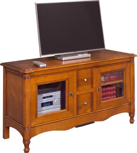 Destock Meubles Meuble TV/Hifi LCD Plasma merisier 2 portes vitrées 2 tiroirs