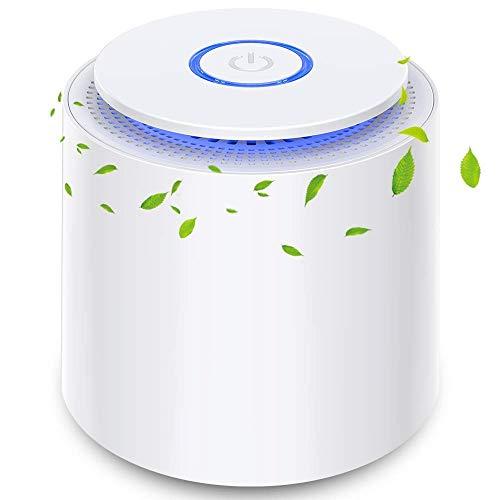 Purificador de Aire Portátil con Filtro HEPA Eficiente, USB Filtro de Aire de Escritorio con Luz Nocturna y Función de Aromaterapia, 100% Sin Ozono, Eliminar Polvo, Humo, Olor, Caspa de Mascotas