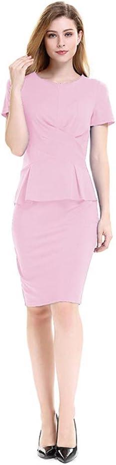 Womens Office Dress Short Sleeve Round Neck Wear to Work Business Church Sheath Back Zipper Bodycon Dress-Pink_M