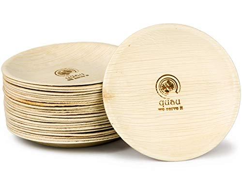 quau | 25 Einwegteller aus Palmblatt | Ø15,5cm | rund | robust & kompostierbar| Palmblattteller | Kuchenteller