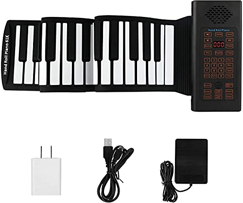 Hami 61 Keys Roll Up Digital Piano, Hand Roll Piano Portable Keyboard, with Sustain Pedal Environment 128 rhythms and 20 Demos, Waterproof Silicone Fold able Piano Keyboard for Kids and Beginners