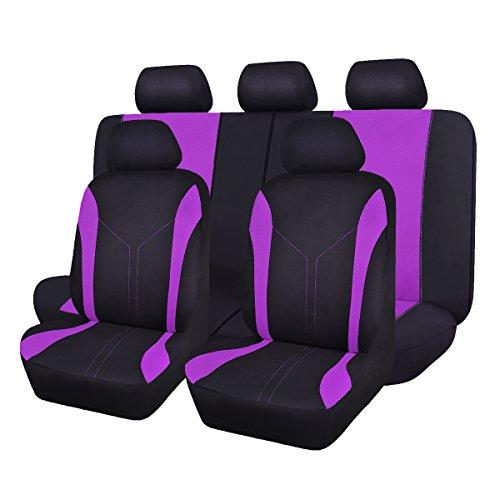 Flying banner 11 pezzi moda maglia universale Fit progettato set coprisedili per auto (Viola)