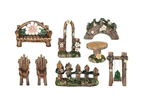 For Miniature Fairy Garden for home Flower & Vine 8 Piece Furniture Set MALOLIK supplier DIY home & garden