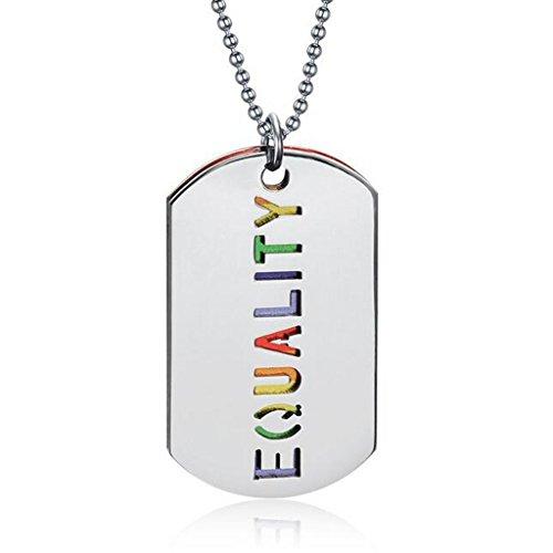 Colcolo Collar con Colgante de Iris de Acero Inoxidable LGBT Lesbian Gay Pride Novedad - Plata, Iris