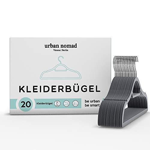 Urban Nomad Kleiderbügel Set Samt - 20 Premium Bügel für Kleidung - Platzsparend, rutschfest, Grau, Chrom, 2 Einkerbungen, 0,6cm Dick, 360° Drehbar - Anzugbügel Jackenbügel Hemdenbügel