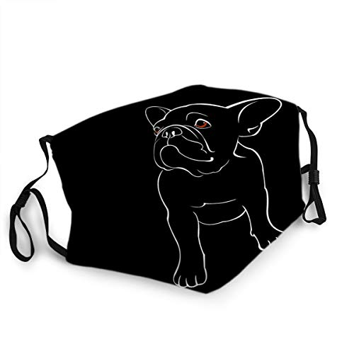 Reusable face Decoration Mouth Mask Bulldog Dog Animal French Pet Breed Cute Drawing Puppy