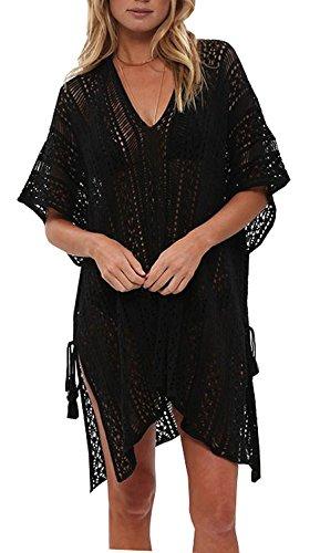 Walant Femmes Dentelle Crochet Blouse Maillot de Bain Taille Tunique Kimono Bohême Bikini Poncho Plage Cache-Maillots Robes de Plage Cover Up, Noir, Taille unique
