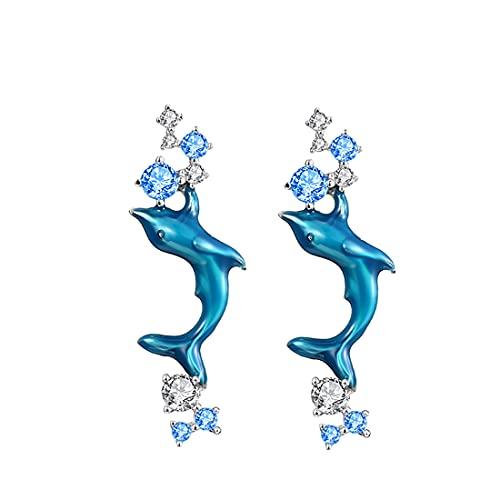 GDDX Pendientes de botón de tortuga marina de plata esterlina Cristal azul Pendientes de animales lindos Joyería para mujeres niñas (pendientes de delfines)