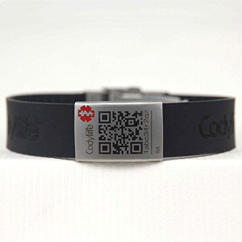 Pulsera identificativa, Codylife Flex negra, Brazalete de silicona y cierre de metal dotado con código QR