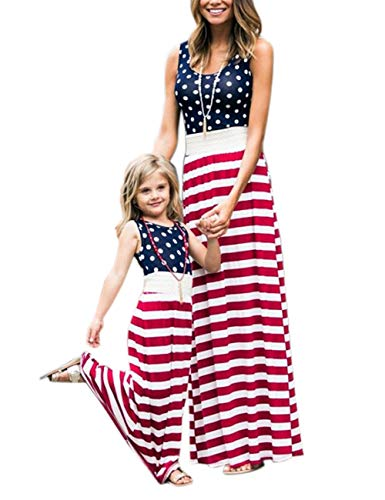 4th of July American Flag Mommy and Me Stripe Stitching Beach Maxi Dresses (Red, S)