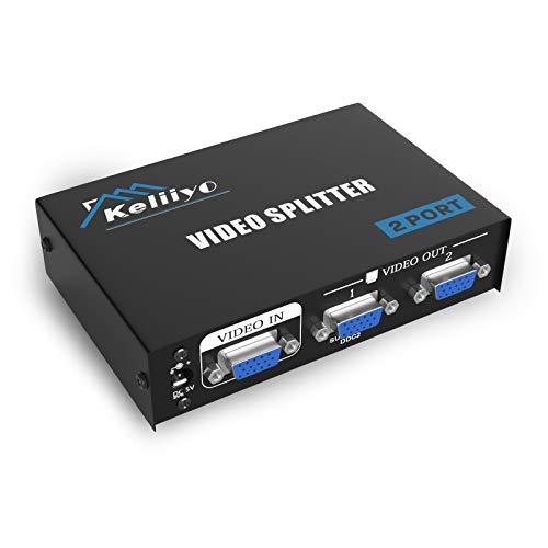 KELIIYO VGA Splitter 2 Port Powered Video Splitter with AC Adaptor 1 to 2 VGA Duplicator Support 1920X1440 Resolution 220 MHz Bandwidth for Screen Duplication