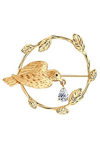 Broche de pájaro en la rama de plata 925 con cristal Swarovski, chapado en oro