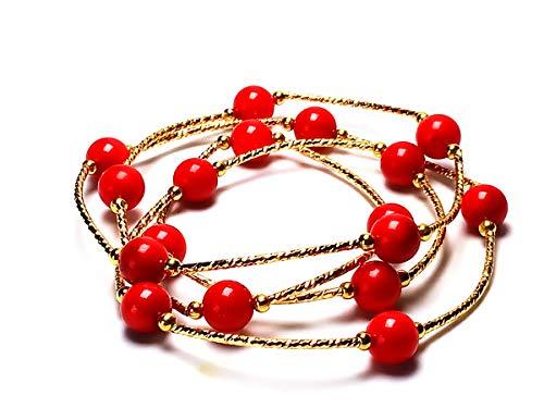 Yigedan, collana/bracciale di perle naturali, color rosso corallo e oro da 14 k