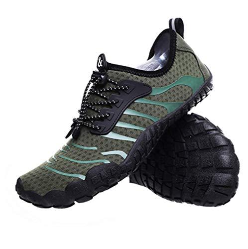 JJZXLQ Zapatos de Agua, Unisex Descalzo al Aire Libre Secado rápido Zapatos de Agua Mujeres Hombres para Aqua Beach Vacation Swim Diving Surf Yoga,Verde,37