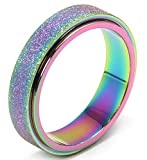 Titanium Stainless Steel Anxiety Ring for Women Men, Size 6, Width 6MM, Rainbow, Sand Blasted Finish