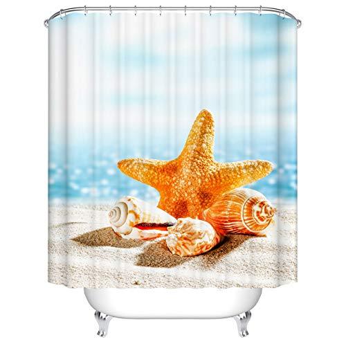 BOYOUTH Duschvorhang mit Seestern & Muscheln am Strand Muster Digitaldruck für Badezimmer Dekor, Polyester wasserdichter Stoff Badvorhang mit 12 Haken, 165 x 178 cm, mehrfarbig