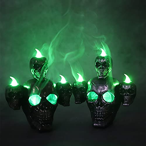 LLIU Luz LED de calavera de Halloween con sándalo de humo, candelero de esqueleto de horror, decoración de mesa de bar, lámpara de modelado vintage luz de noche para fiesta de Halloween