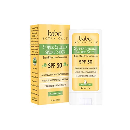 Babo Botanicals Super Shield Zinc Sport Stick Sunscreen SPF 50 with Soothing Organic Ingredients, Non-Nano, Fragrance Free, for Baby, Kids or Sensitive Skin, Yellow, Unscented, 0.6 Ounce