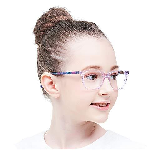 Teens Kinder Kids Brille Teenager Gestell Fassung Brillenrahmen eckig klar Gläser, für Jungen grau rosa Mädchen (Alter 5-12 Jahre) (Wk17070 C3 Purple)