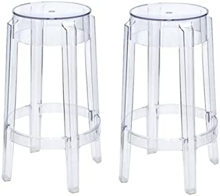 Set of 2 Charles Style Modern Ghost Bar Stool in Clear Finish