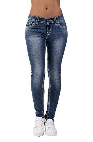 Blue Monkey Damen Laura 3888 Blue Denim Skinny Fit Jeans (W25/L32)
