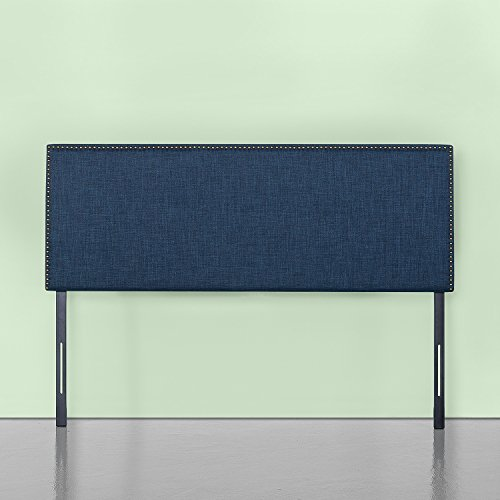 Zinus Jake Upholstered Nailhead Rectangular Headboard in Navy, Full