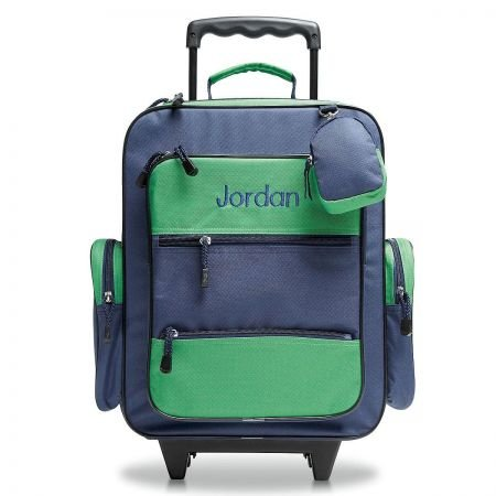 "Personalized Rolling Luggage for Kids – Navy & Green Design, 5"" x 12' x 20'H, By Lillian Vernon"