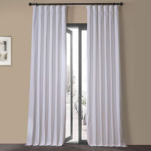 HPD HALF PRICE DRAPES VCCH-VET20802-84 Vintage Cotton Velvet Curtain (1 Panel), 50 X 84, Powder White