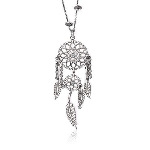 MENGKE Apm Moda Oro colector de sueños Collar Simple Cadena de clavícula Retro señoras Borla Collar tamaño Ajustable,Black