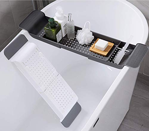 Kitchenmore Escurreplatos para Tina de baño, Bandeja para Bañera Extensible con Soporte Marco de la Bañera Premium Carrito de Bañera Accesorios de baño