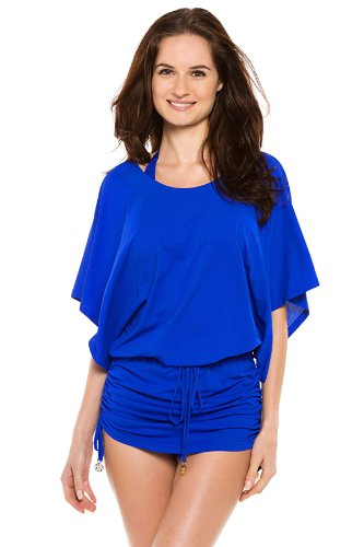 Luli Fama Women's Cosita Buena South Beach Cover Up Dress, Electric Blue, Large
