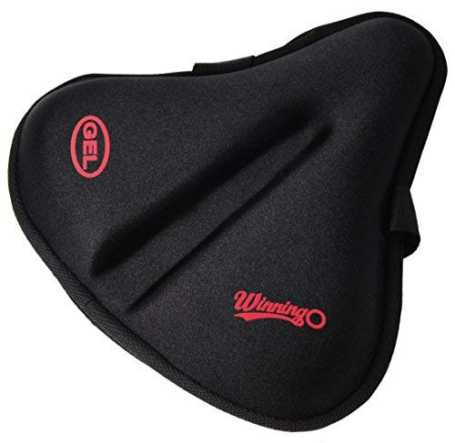 WINNINGO Bike Seat Cushion, Exercise Gel Bike Seat Cover, Comfortable Large Wide Foam & Gel...