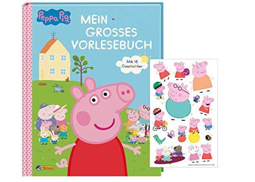 Nelson Peppa: Mein großes Vorlesebuch: Zum Vor- und Selberlesen (Gebundenes Buch) + 1 Peppa Pig Sticker