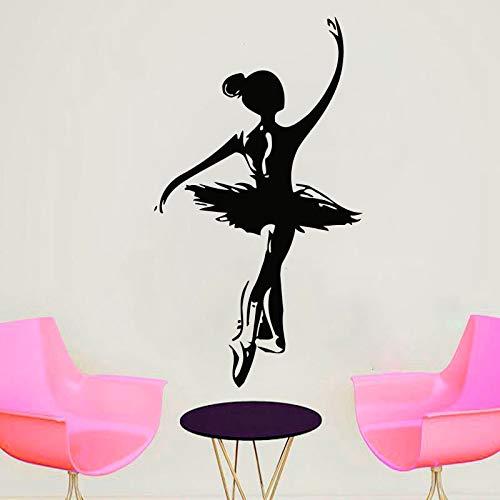 wZUN Etiqueta de la Pared de la Danza del Ballet decoración de la Escuela de Ballet calcomanía de la Pared de la Muchacha del Ballet Vinilo extraíble decoración de la habitación 57X33cm