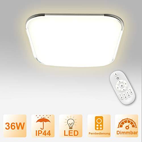 Froadp Dimmbar LED Deckenleuchte Panel Stufenlosen Dimmens mit Fernbedienung Flimmerfreie Deckenlampe IP44 Blendfrei für Küche Schlafzimmer Flur Wohnzimmer(36W)