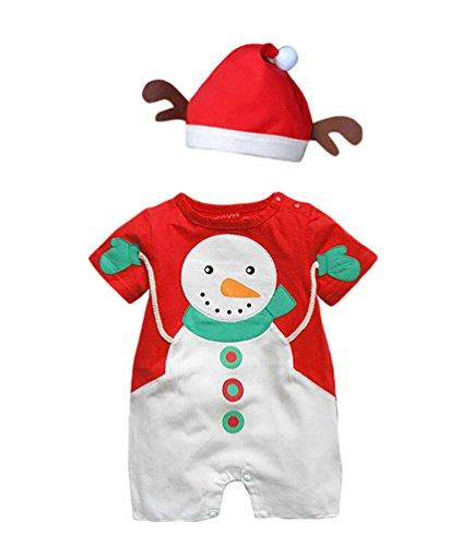 CHENGYANG Neonati Bambino Outfits Pagliaccetto Manica Corta Costume Santa Babbo con Cappello Costumi di Natale