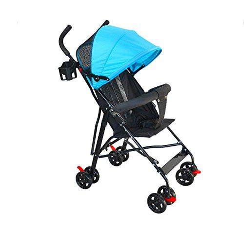 Poussette convenable pliable de poussette de bébé / 4 WheelTravel de poussette compacte de poussette légère (Color : Blue)