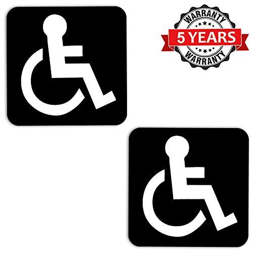Biomar Labs® 2 Stück Vinyl Behindert Symbol Rollstuhl Aufkleber Autoaufkleber Stickers Auto Moto Motorrad Fahrrad Helm Fenster Tuning B 3