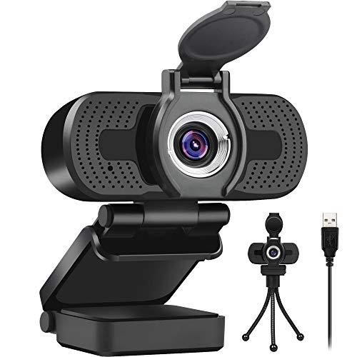 LarmTek Webcam 1080P HD Videokamera mit Webcam Abdeckung,USB Webcam mit Eingebautes Mikrofon,Mini Plug and Play für Desktop,Notebook,ideal für Konferenzen,Live Übertragungen und Videoanruf