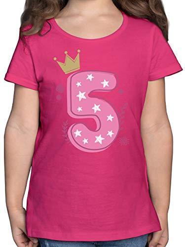 Kindergeburtstag Geschenk - 5. Geburtstag Mädchen Krone Sterne - 128 (7/8 Jahre) - Fuchsia - Geburtstags Tshirt 3 Jahre - F131K - Mädchen Kinder T-Shirt