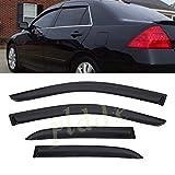PLDDE 4 pcs For 03-07 Honda Accord 4-Door Sedan Front+Rear Sun/Rain Guard Outside Mount Window Visors
